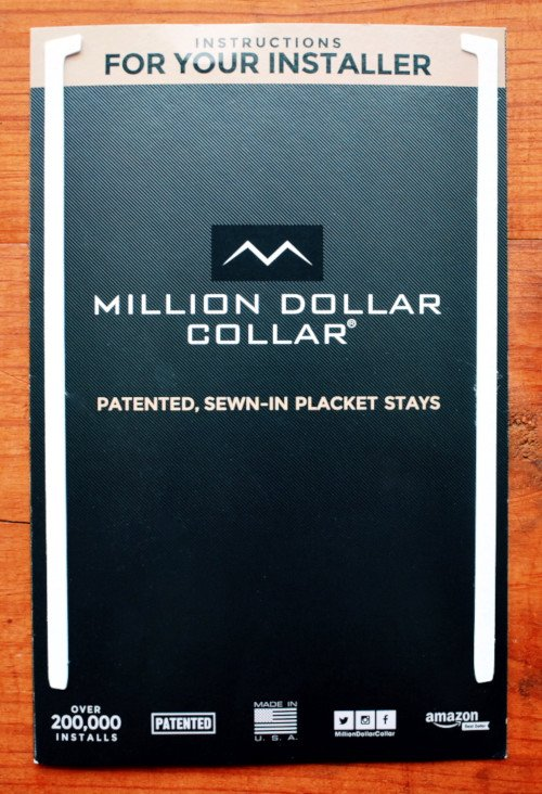 Million Dollar Collar Placket Instructions Booklet Front Page With Plackets