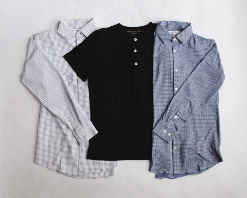 MizzenMain Grid of Two Dress Shirts and a Black Henley