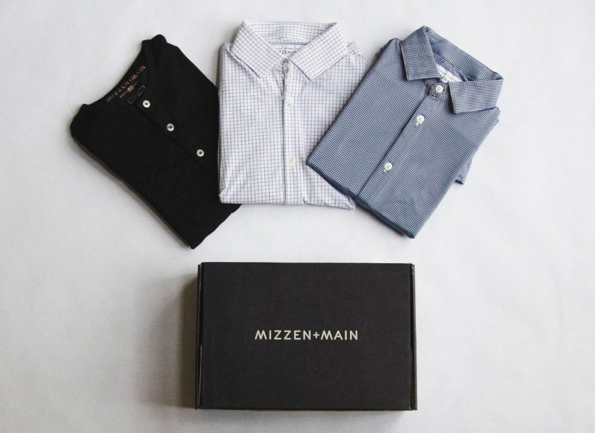 Mizzen+Main Review - 2 Dress Shirts, a Henley, and a Box on a White Background