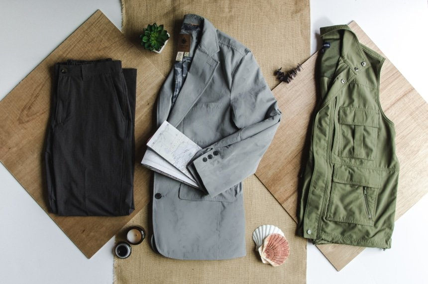 TravelSmith Collage Featuring Voyager Vest, Travel Blazer by Territory Ahead and Flyaway Pants With Map