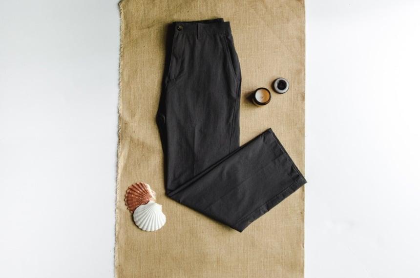 TravelSmith Original Flyaway Pants Product Shot on Canvas with Leg Folded Up