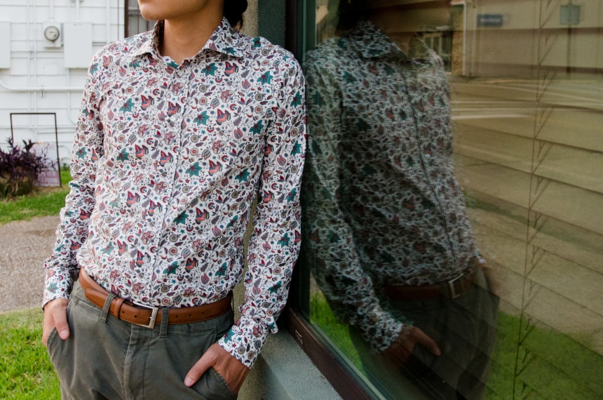 Model Wearing Apposta 100% Pure Cotton Poplin Floral And Leaning on Window