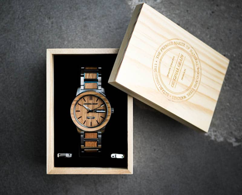 Original Grain barrel brewmaster watch in packaging against concrete