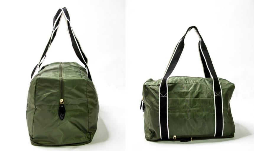 Paravel Fold Up Bag in Safari Green Grid Side On and End On