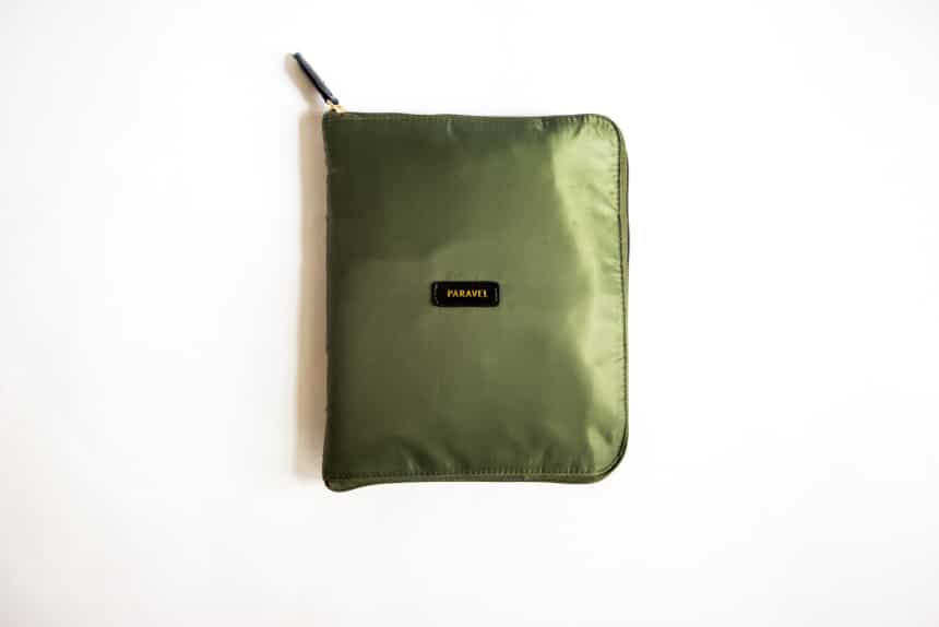Paravel Fold Up Bagin Safari Green Folded Up top down on white background