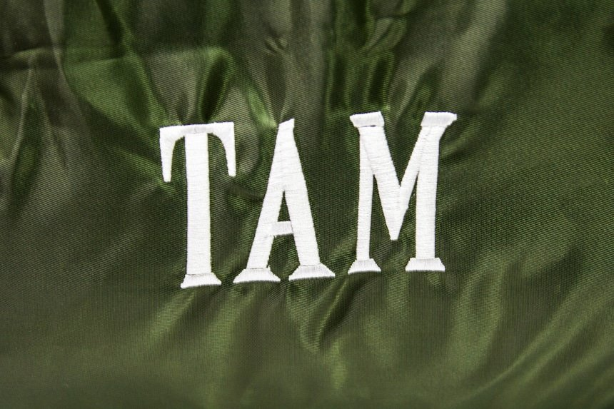 Paravel Fold-Up Bagin Safari Green close up on personalized embroidery
