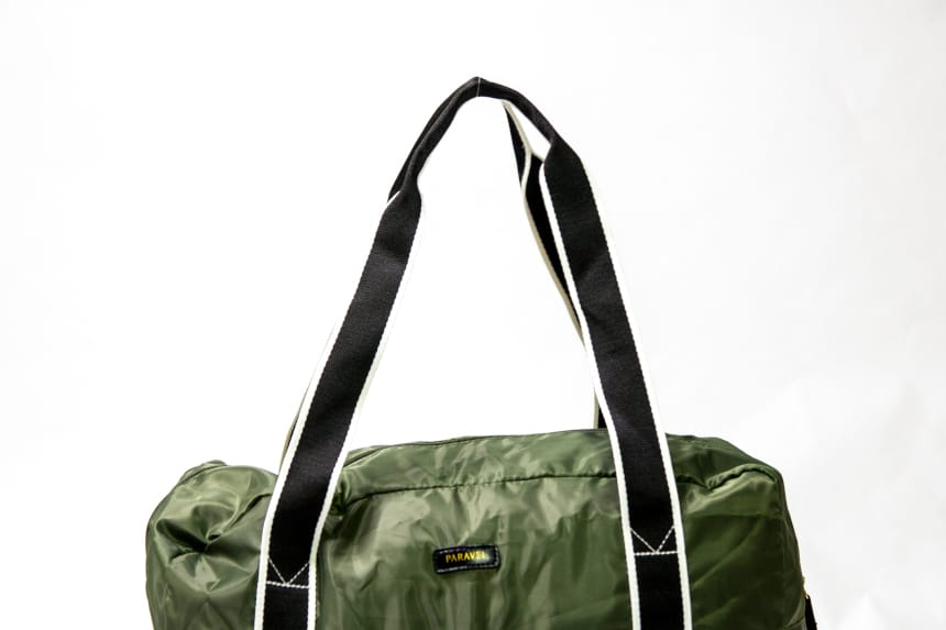 Paravel Fold-Up Bagin Safari Green on white background showing handles