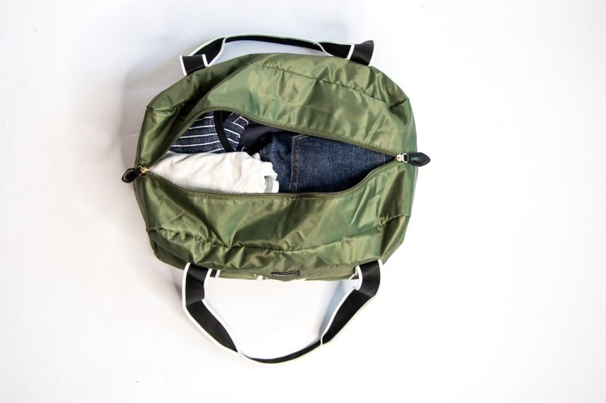 Paravel Safari Green Fold-Up Bag Open Showing Clothes