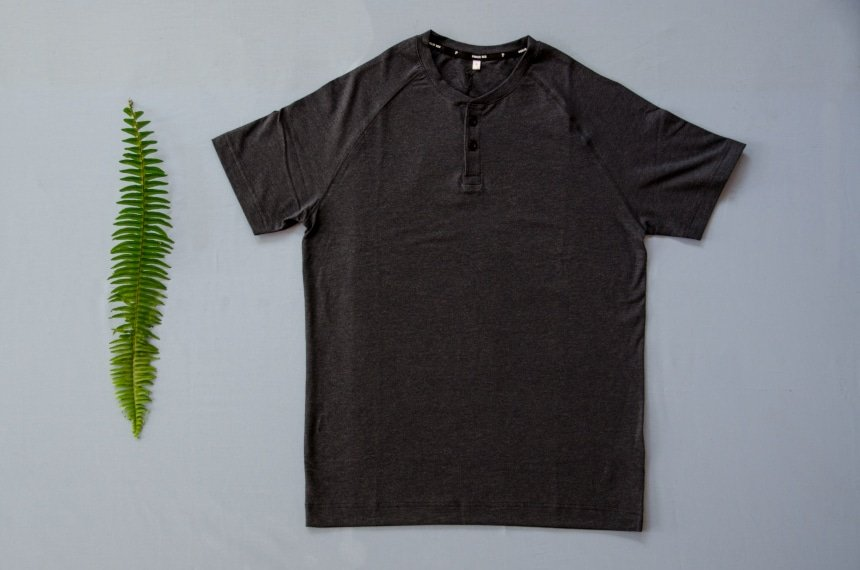 Product Shot of Public Rec Go-To Henley with a Leaf