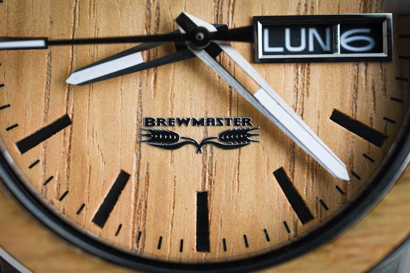 closeup on barrel brewmaster logo