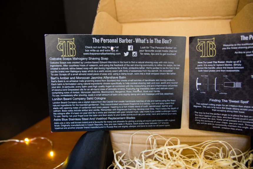 Close Up of The Personal Barber Subscription Box Instruction Card A