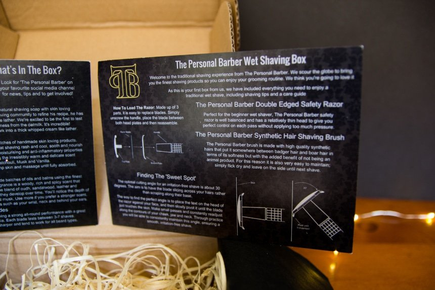 Close Up of The Personal Barber Subscription Box Instruction Card B