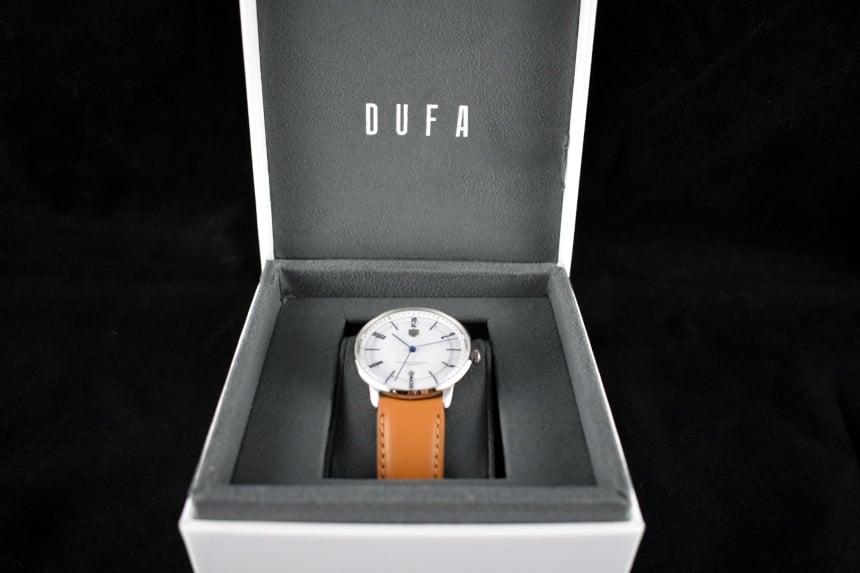 Dufa Bayer Watch Box Open Showing Watch On Cushion