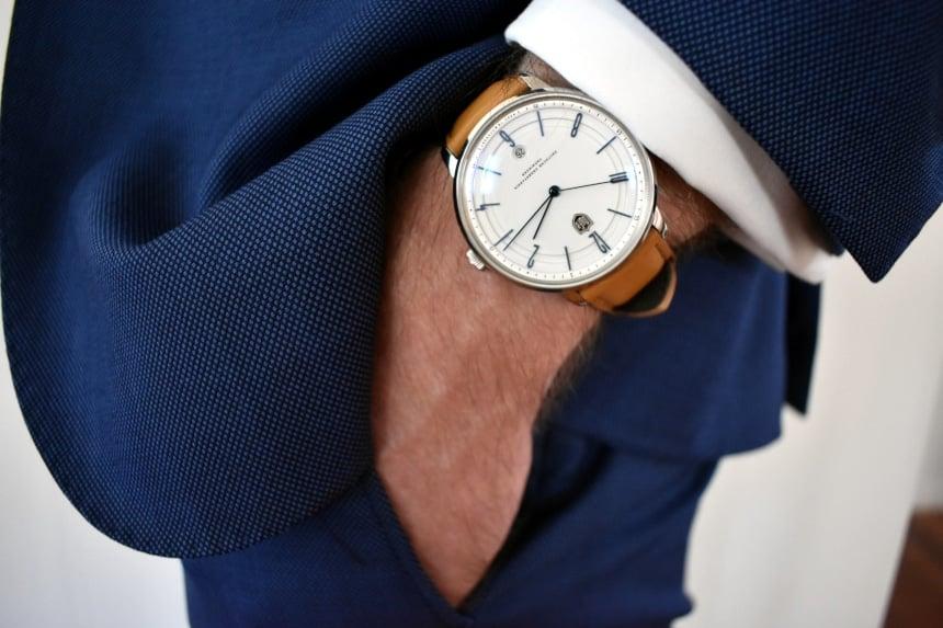 Model Wearing Dufa Bayer In Suit Side On Hands in Pocket