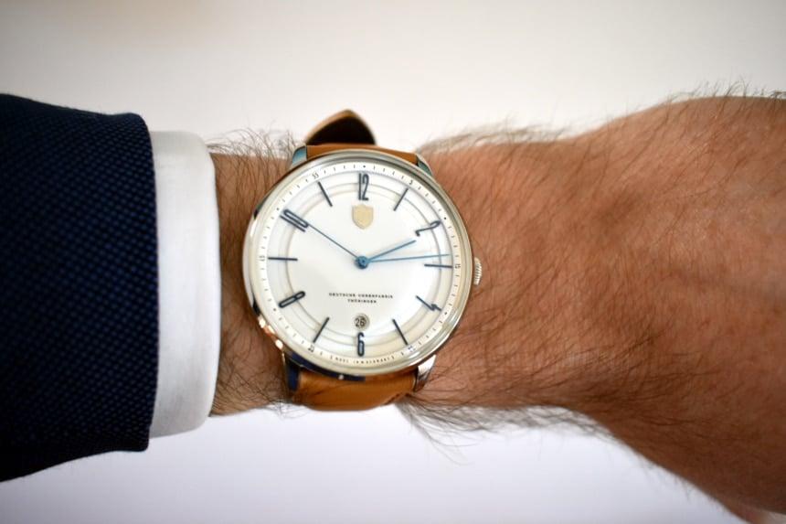 Model Wearing Dufa Bayer on Wrist Showing Dial