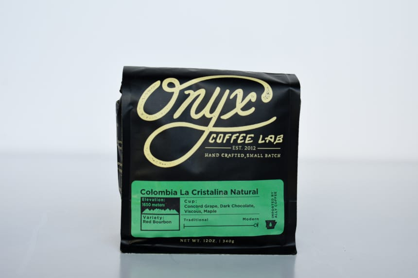 Onyx Coffee Lab Colombia La Cristalina Natural Bag Standing up On White Background