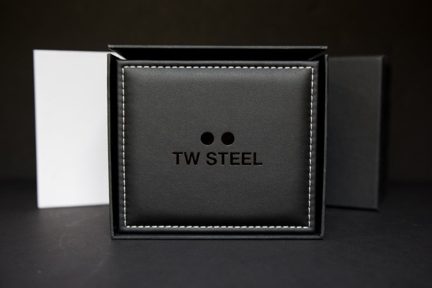TW Steel CEO Tech front facing leather watch box with logo on black background a