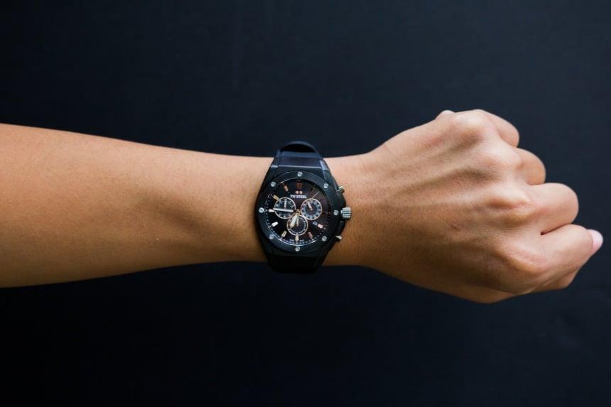 TW Steel CEO Tech watch worn by male model on a black background a