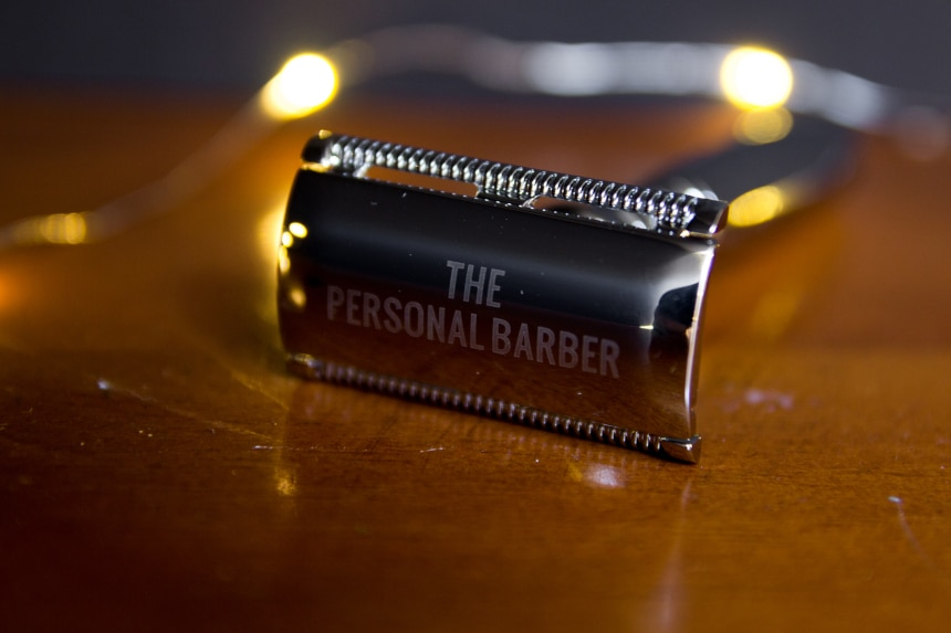 The Personal Barber Premium Double Edged Safety Razor On Angle Side On Close Up