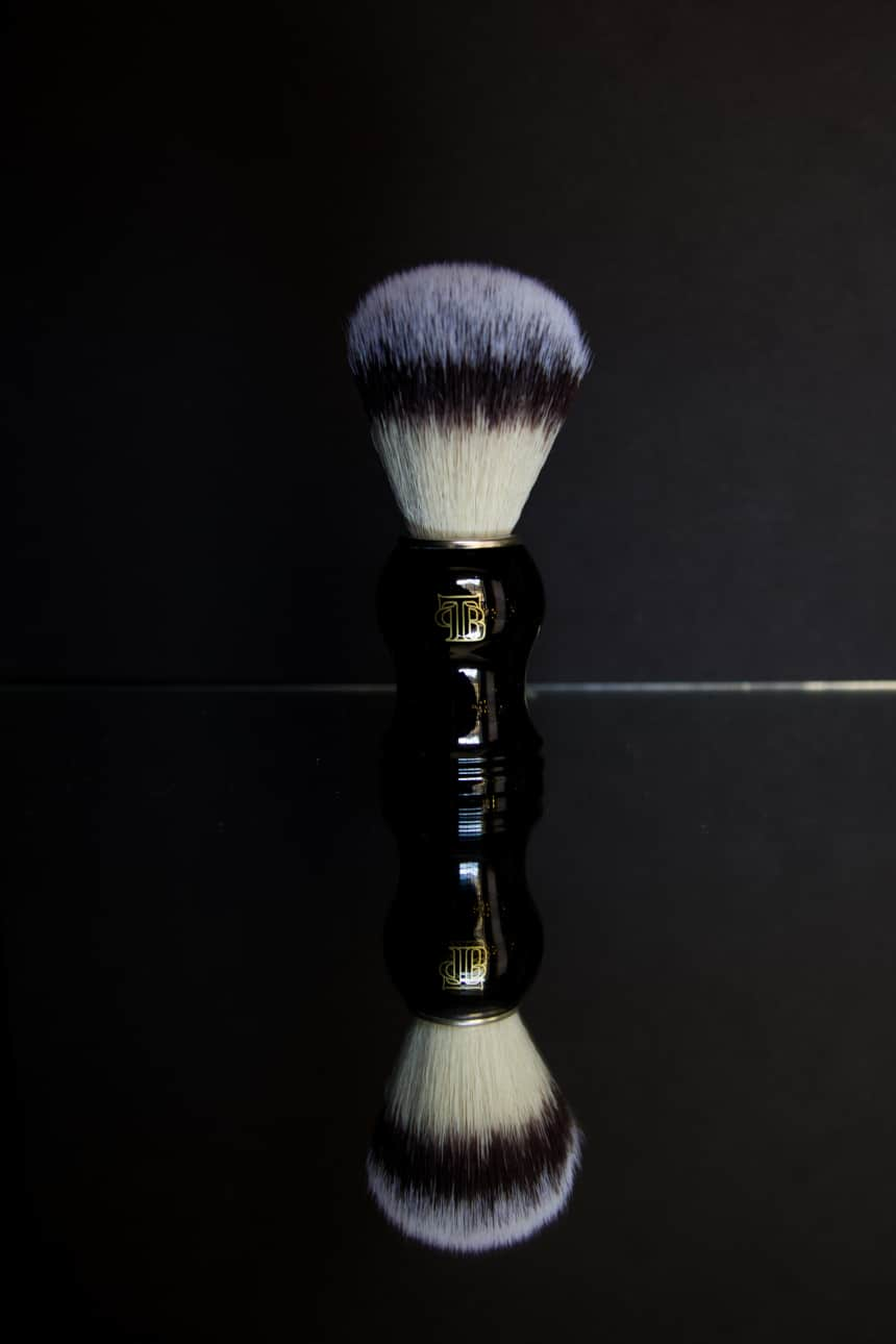 The Personal Barber Shaving Brush Standing Up With Reflection Showing