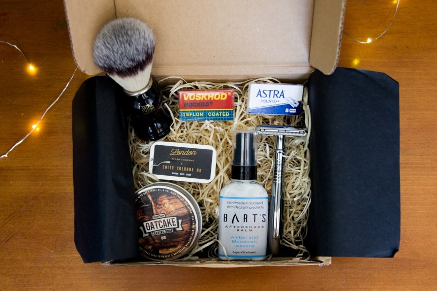Top Down View of Open The Personal Barber Subscription Box