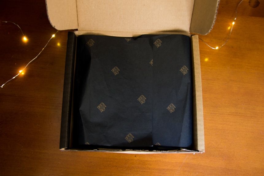 Top Down View of The Personal Barber Subscription Box Showing Tissue Paper