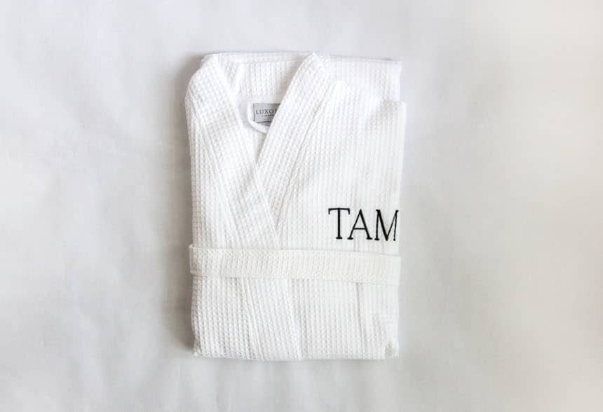 Lakeview Signature Egyptian Cotton Spa Robe top down poroduct shot on white background