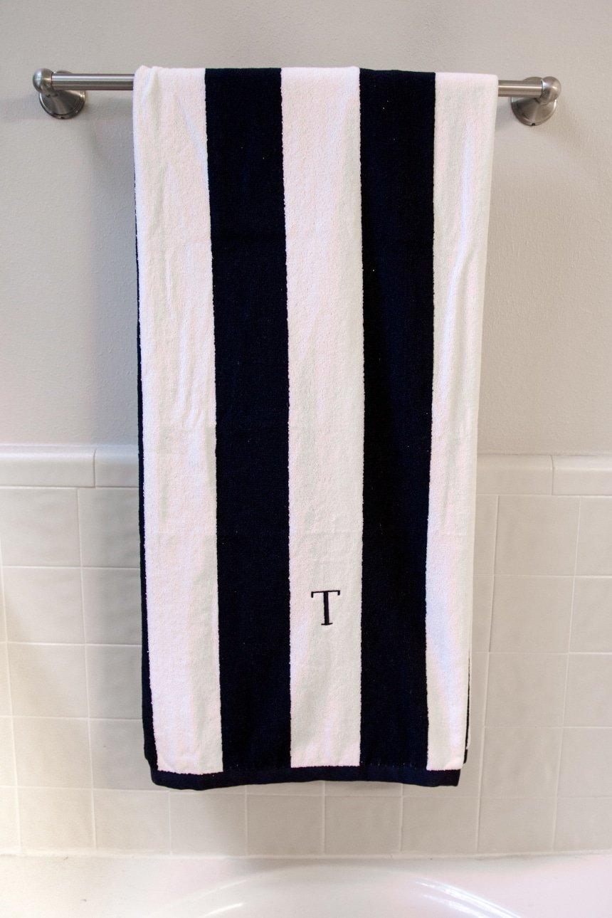 Luxor Linens Anatalya Egyptian Cotton Resort Beach Towel on towel rack