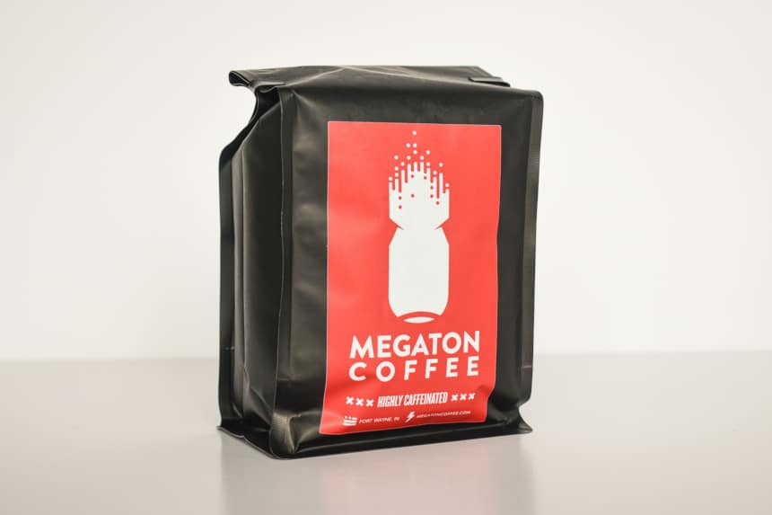 Megaton Coffee Packet Front on angle White Background
