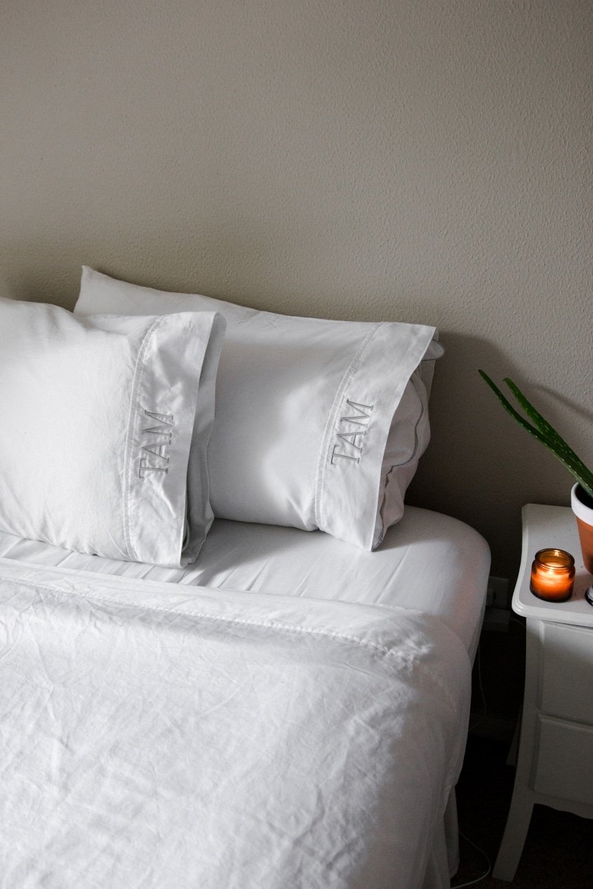 Vertical shot of bed with Valentino 1200 Thread Count Cotton Sheets