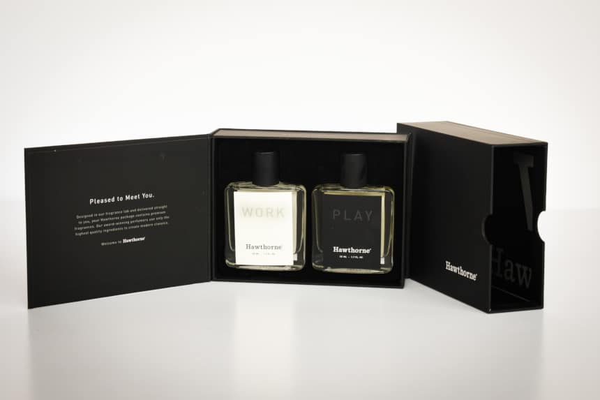 Hawthorne Fragrance Box Packaging Open Showing Work and Play Side by Side With Package in Background on Angle