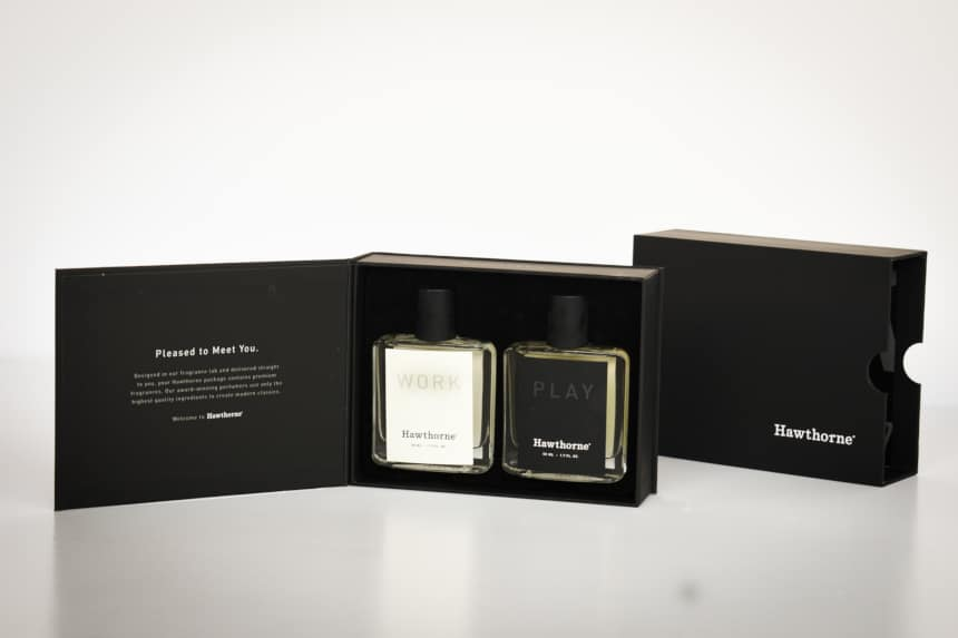 Hawthorne Fragrance Box Packaging Open Showing Work and Play Side by Side With Package in Background
