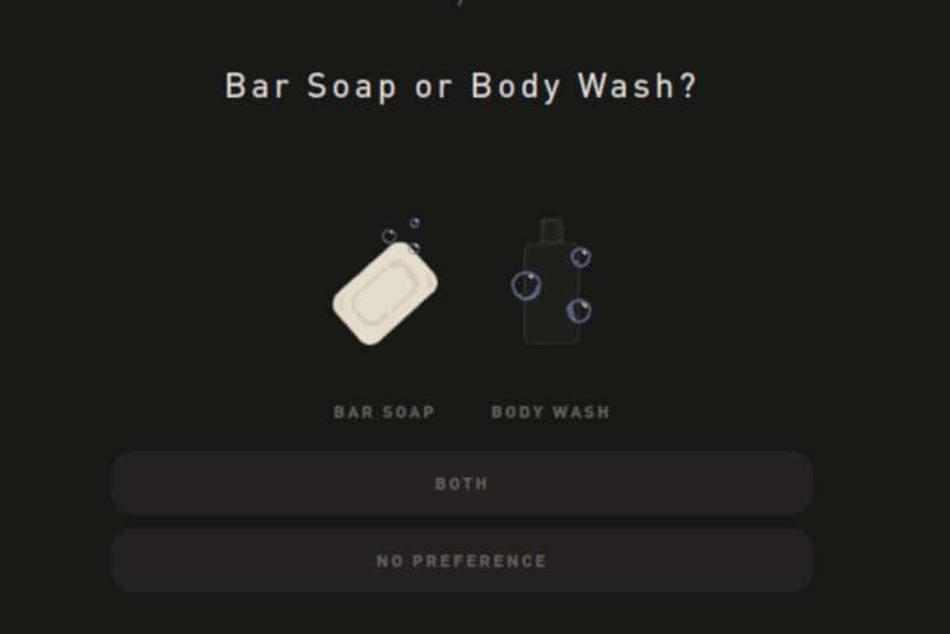 Hawthorne Quiz Screenshot Bar Soap or Body Wash Question