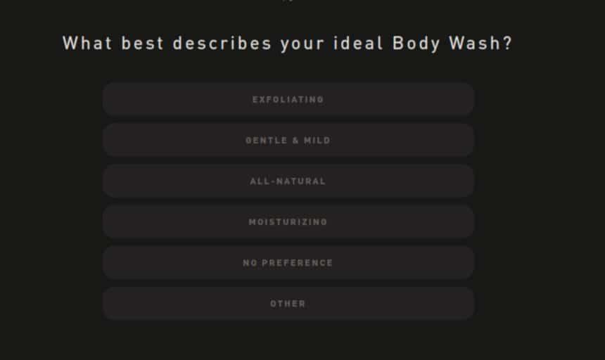 Hawthorne Quiz Screenshot Body Wash Ideal Type Question