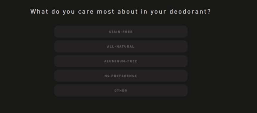 Hawthorne Quiz Screenshot Deodorant Care Question