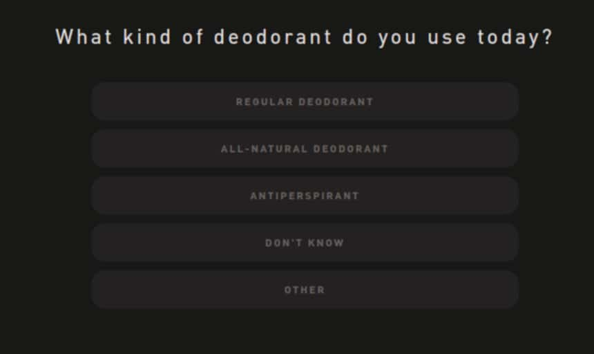 Hawthorne Quiz Screenshot Deodorant User Type Question
