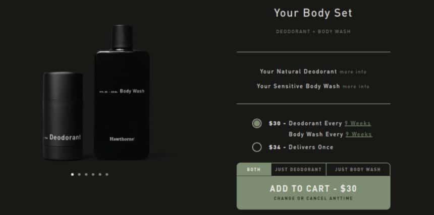 Hawthorne Quiz Screenshot Deodorant and Body Wash