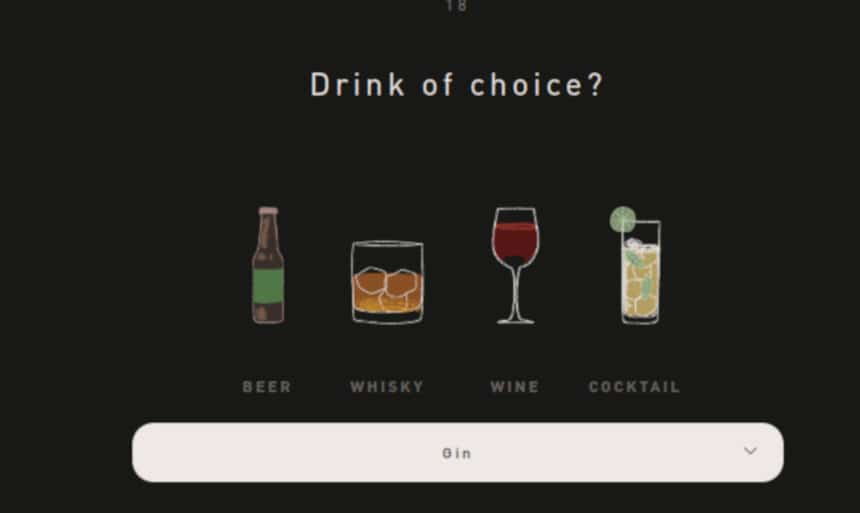 Hawthorne Quiz Screenshot Drink Question