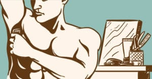 Manscaping - Cartoon of Muscular Man Shaving His Underarm Shirtless with a Mirror and Other Grooming Products In The Background