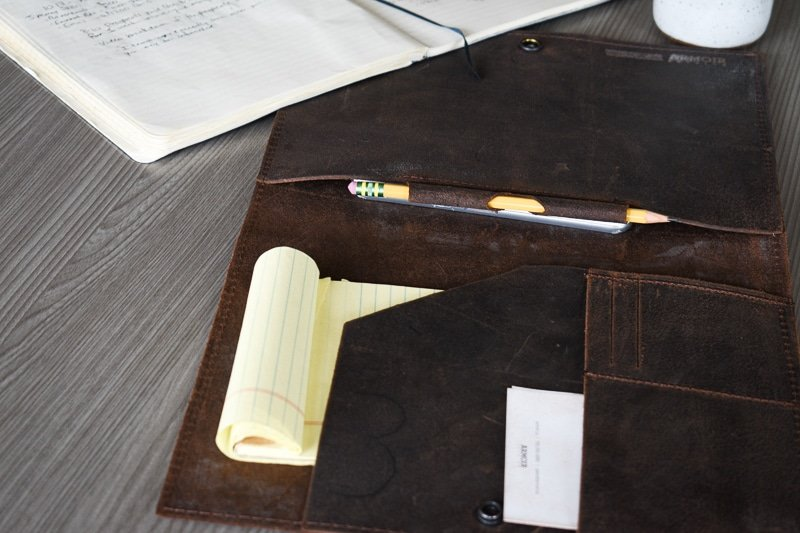 Leather Portfolio angle with pencil