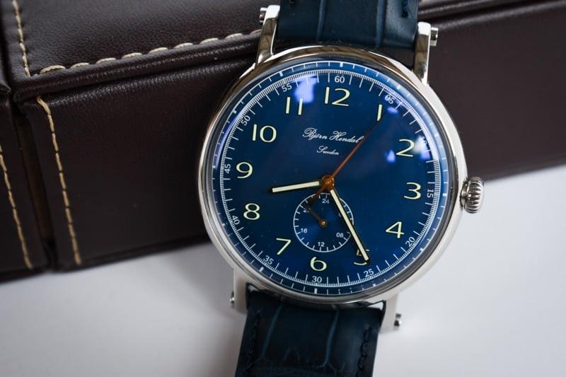 Bjorn Hendal flytende blue dial silver case