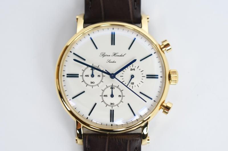 Bjorn Hendal varberg chronograph eggshell white dial closeup blue baton