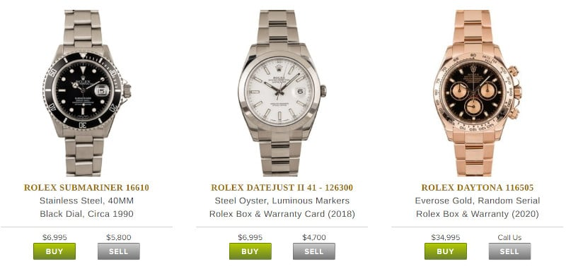 Bobs Watches Rolex prices