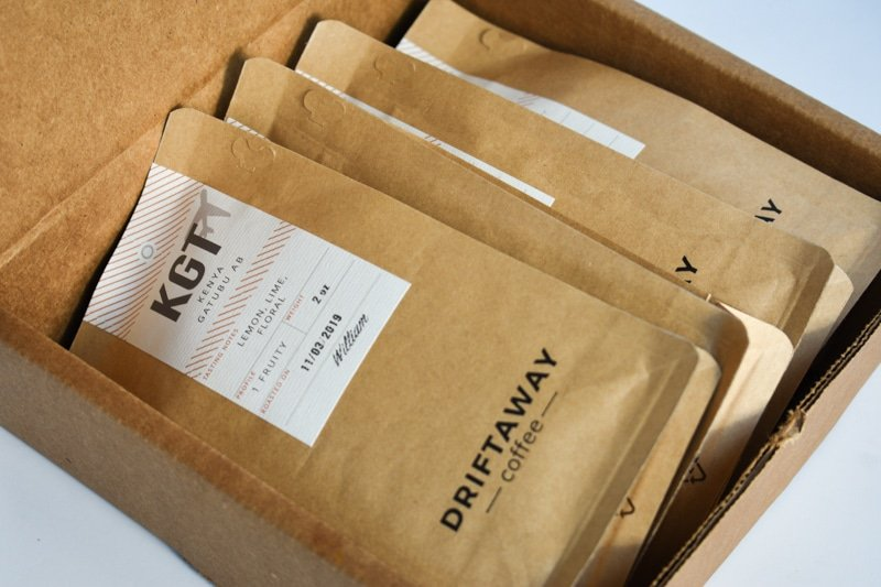 Driftaway coffee subscription four packages two ounces