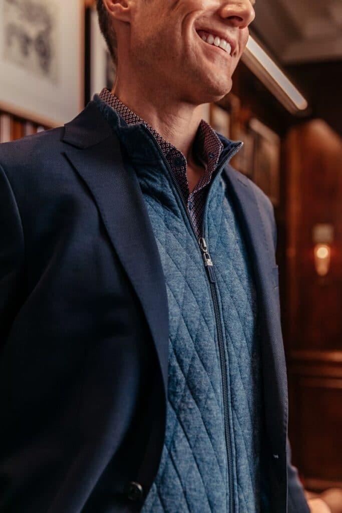 Mizzen and Main Vest Under Blazer Man Close Up