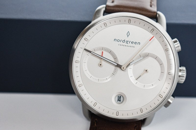 Nordgreen pioneer white dial close up