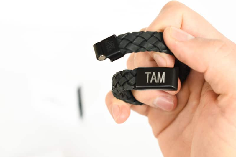 The Steel Shop 12mm leather bracelet with engraving closeup clasp undone