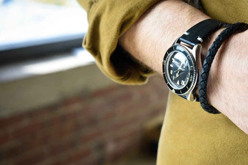 The Steel Shop 6mm leather bracelet with Undone watch