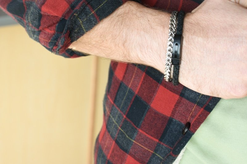 The Steel Shop Franco link and 6mm leather watch stacked against flannel