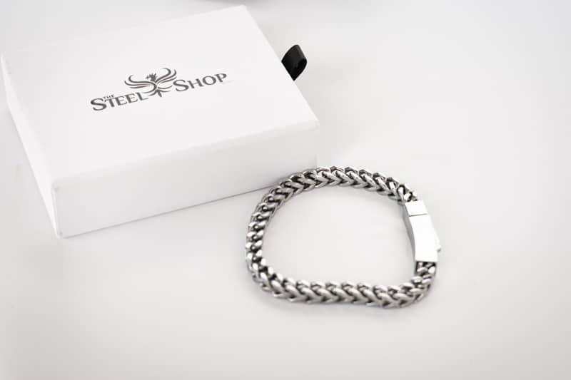TheSteelShop franco link bracelet next to package